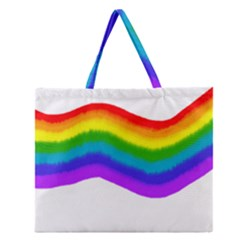 Watercolour Rainbow Colours Zipper Large Tote Bag by Nexatart