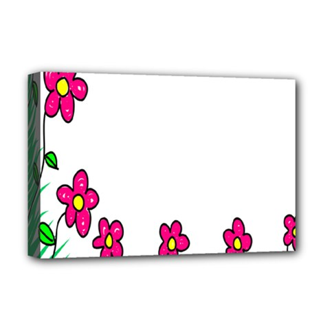 Floral Doodle Flower Border Cartoon Deluxe Canvas 18  X 12   by Nexatart