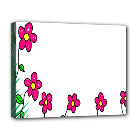 Floral Doodle Flower Border Cartoon Deluxe Canvas 20  X 16