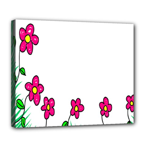 Floral Doodle Flower Border Cartoon Deluxe Canvas 24  X 20   by Nexatart