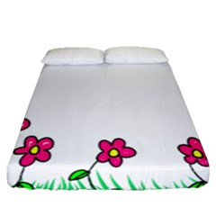Floral Doodle Flower Border Cartoon Fitted Sheet (queen Size) by Nexatart