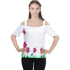 Floral Doodle Flower Border Cartoon Women s Cutout Shoulder Tee