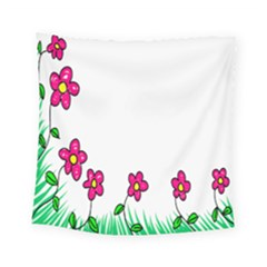 Floral Doodle Flower Border Cartoon Square Tapestry (small) by Nexatart