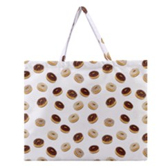 Donuts Pattern Zipper Large Tote Bag by Valentinaart