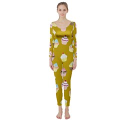 Cupcakes Pattern Long Sleeve Catsuit by Valentinaart