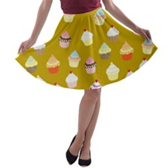 Cupcakes pattern A-line Skater Skirt by Valentinaart