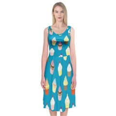 Cupcakes Pattern Midi Sleeveless Dress