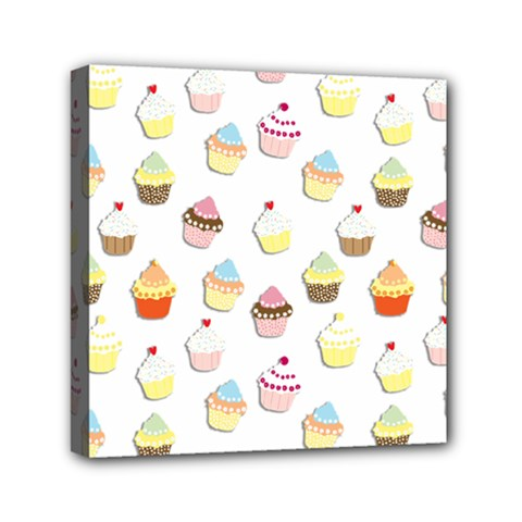 Cupcakes Pattern Mini Canvas 6  X 6  by Valentinaart