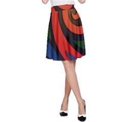 Simple Batik Patterns A Line Skirt by Onesevenart