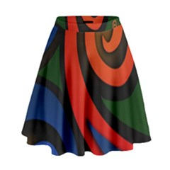 Simple Batik Patterns High Waist Skirt by Onesevenart