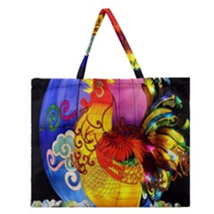 Chinese Zodiac Signs Zipper Large Tote Bag by Onesevenart