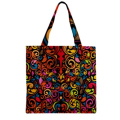 Art Traditional Pattern Zipper Grocery Tote Bag by Onesevenart