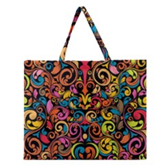 Art Traditional Pattern Zipper Large Tote Bag by Onesevenart