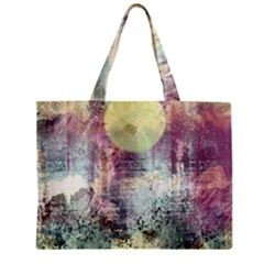 Frosty Pale Moon Zipper Mini Tote Bag by theunrulyartist