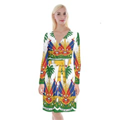 Coat Of Arms Of Haiti Long Sleeve Velvet Front Wrap Dress by abbeyz71