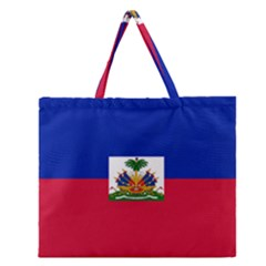 Flag Of Haiti Zipper Large Tote Bag by abbeyz71