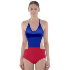 Civil Flag Of Haiti (without Coat Of Arms) Cut Out One Piece Swimsuit by abbeyz71
