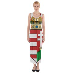 Medieval Coat of Arms of Hungary  Fitted Maxi Dress