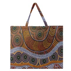 Aboriginal Traditional Pattern Zipper Large Tote Bag by Onesevenart