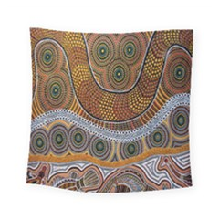 Aboriginal Traditional Pattern Square Tapestry (small) by Onesevenart