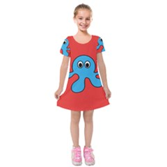 Creature Forms Funny Monster Comic Kids  Short Sleeve Velvet Dress