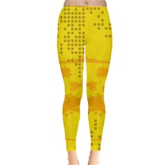 Texture Yellow Abstract Background Leggings  by Nexatart