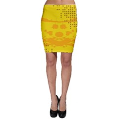 Texture Yellow Abstract Background Bodycon Skirt