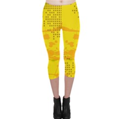 Texture Yellow Abstract Background Capri Leggings