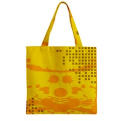 Texture Yellow Abstract Background Zipper Grocery Tote Bag by Nexatart