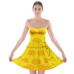 Texture Yellow Abstract Background Strapless Bra Top Dress