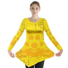 Texture Yellow Abstract Background Long Sleeve Tunic  by Nexatart