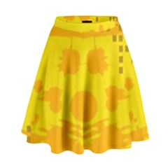 Texture Yellow Abstract Background High Waist Skirt by Nexatart
