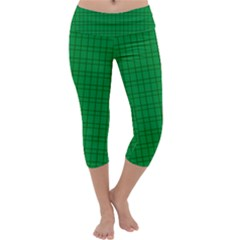 Pattern Green Background Lines Capri Yoga Leggings