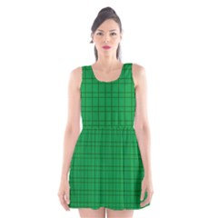Pattern Green Background Lines Scoop Neck Skater Dress