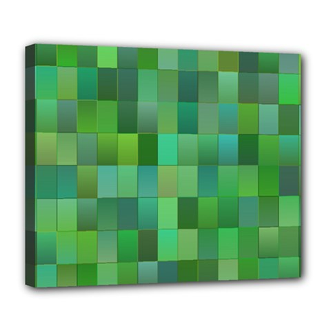 Green Blocks Pattern Backdrop Deluxe Canvas 24  X 20   by Nexatart