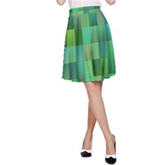 Green Blocks Pattern Backdrop A Line Skirt