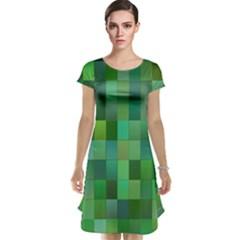 Green Blocks Pattern Backdrop Cap Sleeve Nightdress