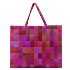 Shapes Abstract Pink Zipper Large Tote Bag by Nexatart
