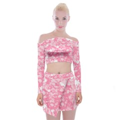 Plant Flowers Bird Spring Off Shoulder Top With Skirt Set by Nexatart