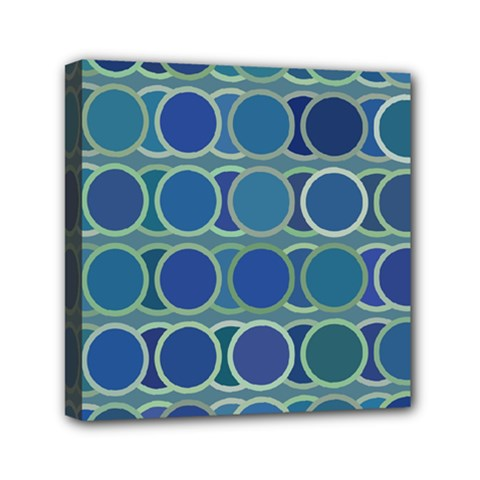Circles Abstract Blue Pattern Mini Canvas 6  X 6  by Nexatart