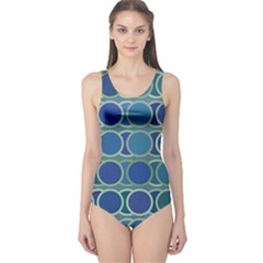 Circles Abstract Blue Pattern One Piece Swimsuit