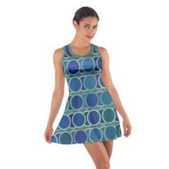 Circles Abstract Blue Pattern Cotton Racerback Dress