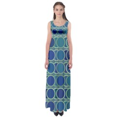 Circles Abstract Blue Pattern Empire Waist Maxi Dress