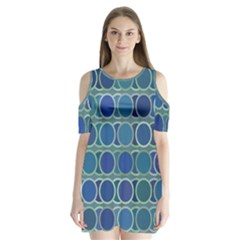 Circles Abstract Blue Pattern Shoulder Cutout Velvet  One Piece