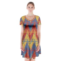 Aztec Traditional Ethnic Pattern Short Sleeve V Neck Flare Dress