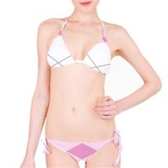 Tablecloth Stripes Diamonds Pink Bikini Set