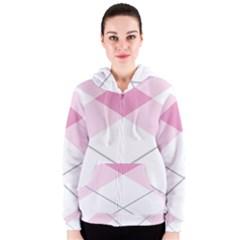 Tablecloth Stripes Diamonds Pink Women s Zipper Hoodie
