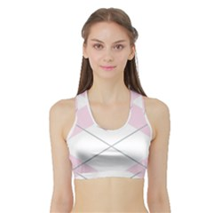 Tablecloth Stripes Diamonds Pink Sports Bra With Border