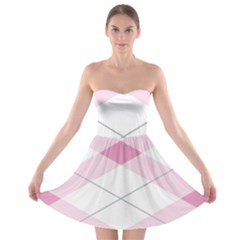Tablecloth Stripes Diamonds Pink Strapless Bra Top Dress