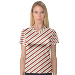 Stripes Striped Design Pattern Women s V Neck Sport Mesh Tee